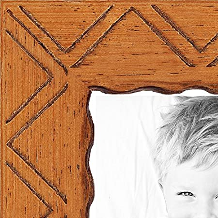 ArtToFrames WOMJ40062-4x6 Inch Picture Frame, 4 X 6-Inch, Chevron Carving on Cherry Stained Wood