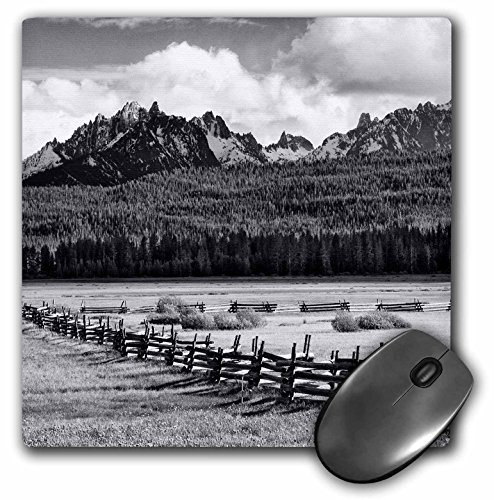 3dRose USA, Idaho, Saw Tooth. Split-Rail Fence and Landscape, Mouse Pad, 8