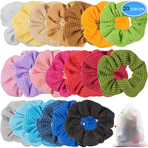 EAONE 20 Colors Hair Scrunchies Knit Elastic Hair Ties Scrunchy Hair Bands Soft Ponytail Holder for Women or Girls, 20 Pieces