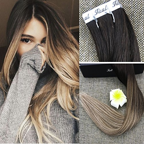 "Fshine 22"" Blonde Balayage Tape in Extensions 100% Real H..."