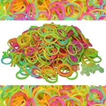600 Piece Glow in the Dark Rubber Band and S-Clips Loom Art and Craft Kids Rainbow Bracelet Refill Pack