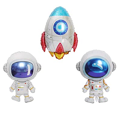 JANOU Astronaut Rocket Balloons Cartoon Space Theme Party Balloons Helium Foil Mylar Balloons for Birthday Baby Shower Party Decoration Pack 3pcs: Toys & Games