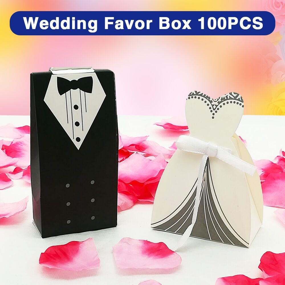 BornFeel Bride and Groom Wedding Favour Boxes Bags 100pcs Gift Boxes ...