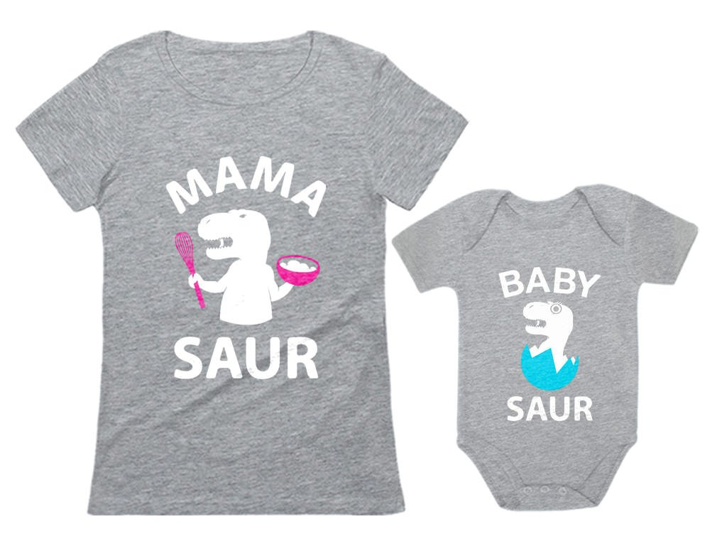 Tstars Mama Saur - T-Rex Mom & Baby Saur T-Rex Baby Matching Set Mother's Day Gift Mom Gray Large/Baby Gray 6M (3-6M)