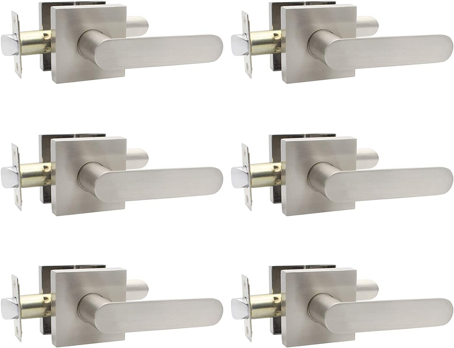 Home or Office Use Heavy Duty Reversible for Right /& Left Sided Doors Satin Nickel Finish Square Keyless Lever Set for Hallway//Closets 6 Pack Passage Lever Door Handle Without Keys
