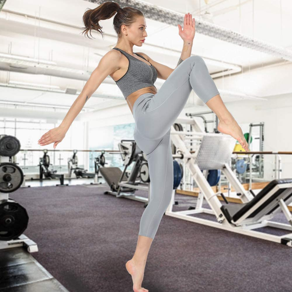 Puimentiua Yoga Pantalones Cortos Deportivos para Mujer con Bolsillo Lateral 4 V/ías El/ásticos con Cintura Alta 1//2 Packs