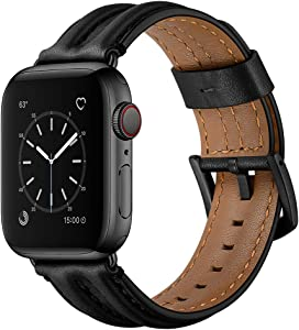 Hepsun Genuine Vintage Leather Sport Bands Compatible with Apple Watch band 42mm 44mm, Sweatproof Genuine Leather Retro Replacement Watch Strap Compatible for iWatch Series 6/5/4/3/2/1/SE Men Women ( 42mm /44mm) (Black)