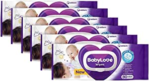 BabyLove Fragrance Free & Hypoallergenic Baby Wipes, 480 wipes (6x 80 pack)