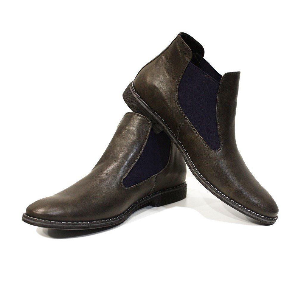 Peppeschuhe Modello Orazio - Handgemachtes Italienisch Grau Leder Herren Grau Italienisch Stiefeletten Chelsea Stiefel - Rindsleder Weiches Leder - Schlüpfen 1eca82
