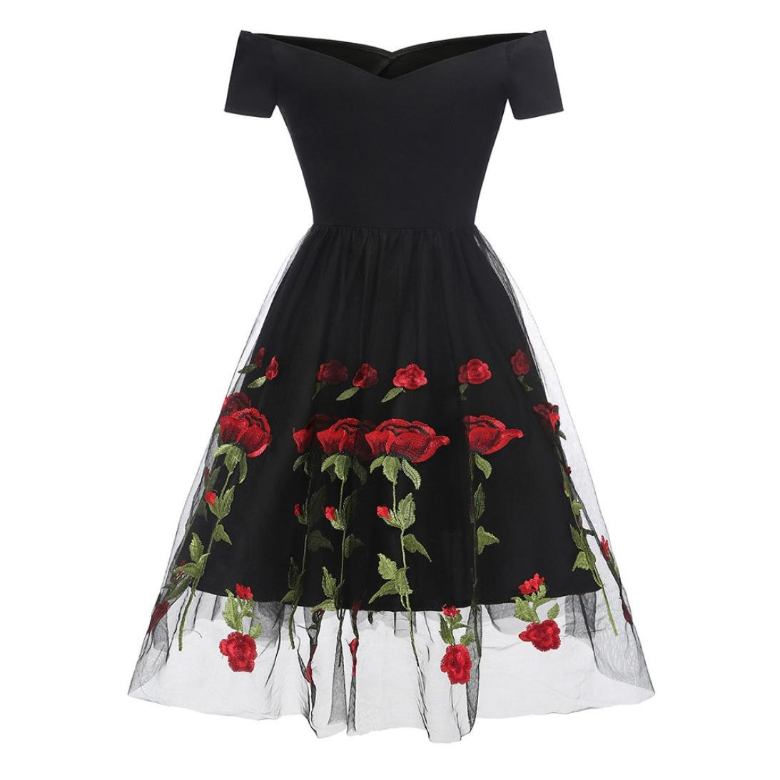 261a1b501f7d Fashion Embroidery Cocktail Dresses Women's Vintage Princess Dress Retro  Rose Floral Ruched Off Shoulder Party Dress at Amazon Women's Clothing  store: