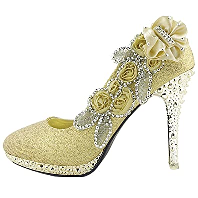 136ec4354fb8 Getmorebeauty Women s Lace Flower Pearls Closed Toes Prom Wedding Shoes   Amazon.co.uk  Shoes   Bags