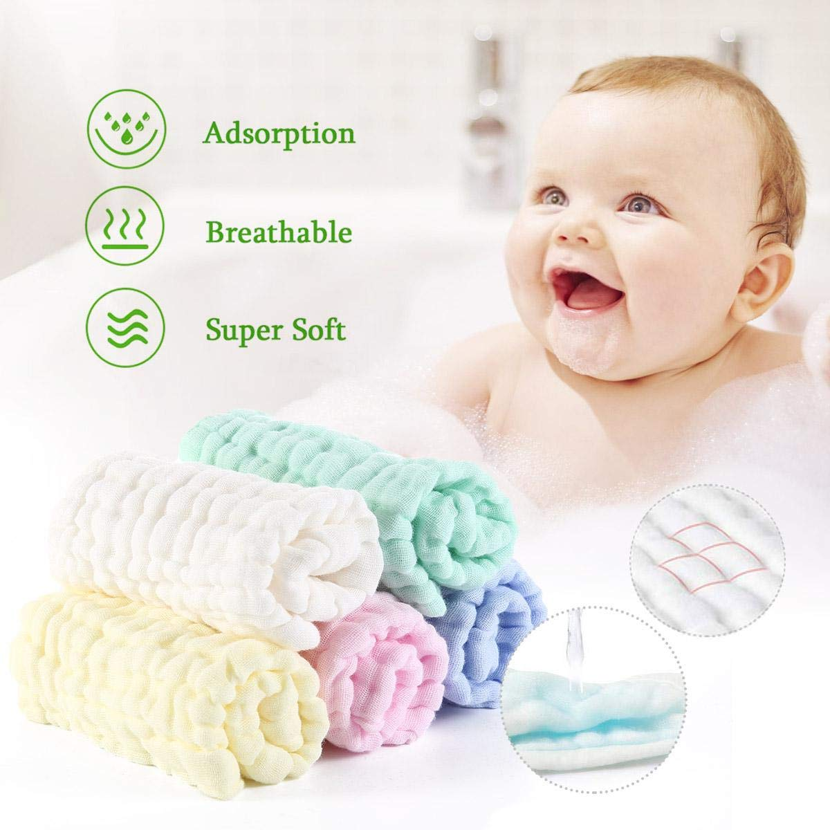 Soft Fluffy Breathable Newborn Wash Face Towel for Infant Kids Sensitive//Allergic Skin Baby Muslin Washcloths 5 Pack 6 Layer 100/% Natural Cotton Baby Wipes 12x12 inches Pure White