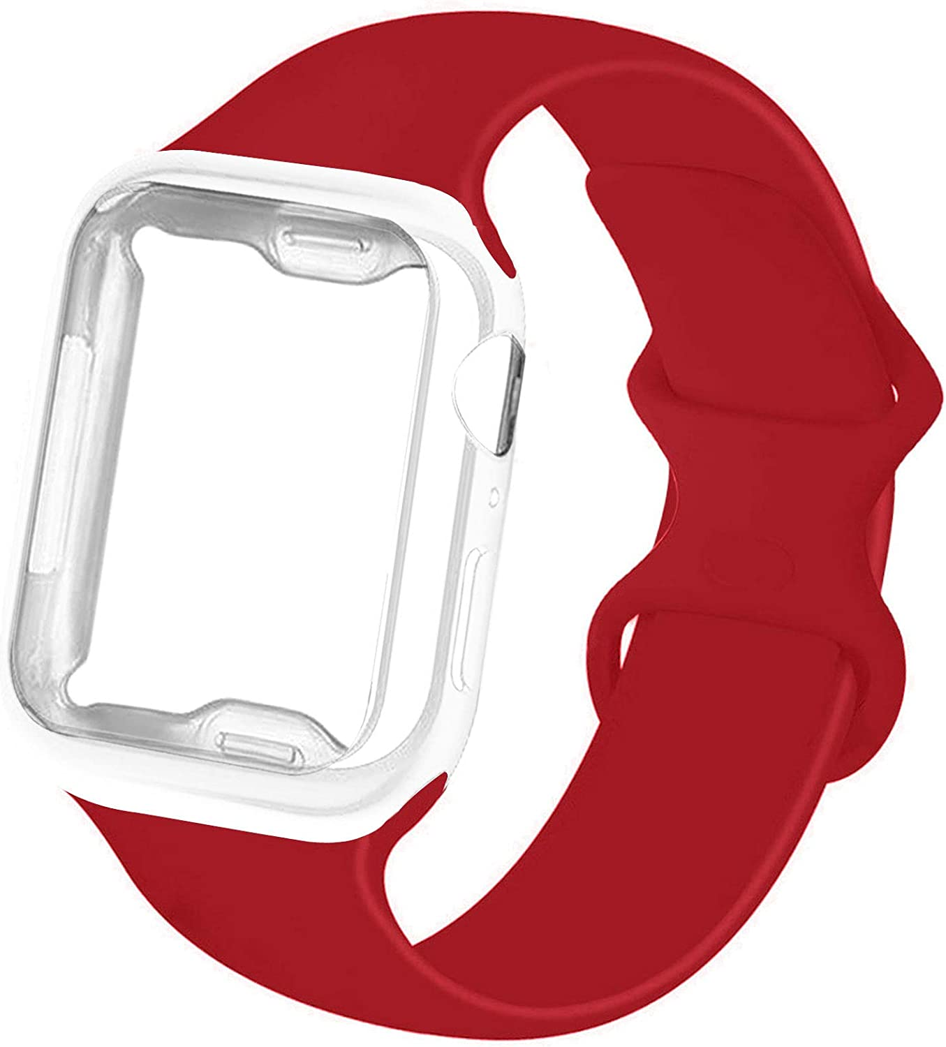RUOQINI Smartwatch Band with Case Compatiable for Apple Watch Band 38mm 40mm 42mm 44mm, Silicone Sport Band and TPU Case for iWatch Series 6/5/4/3/2/1/SE