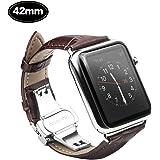 Xboun Apple Watch バンド ベルト42mm / 本革 レザー ステンレス プッシュ式 D バックル 簡単交換 ビジネス用 手作り Apple Watch Nike+, Apple Watch Series 1、 Series 2,Series 3 (42mm, ブラウン)