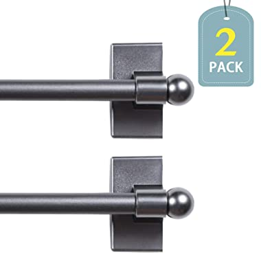 H.VERSAILTEX Magnetic Curtain Rods Adjustable Lenght from 16-28 Inch with Petite Ball Ends for Small Windows, 1/2  Diameter, Pewter, 2 Packs