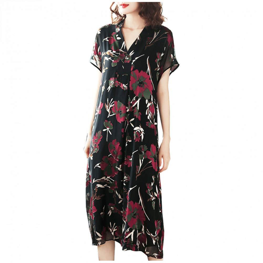 L BINGQZ Silk jacquard dress female summer new women's ladies temperament summer long skirt