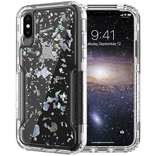 (Dexnor Compatible iPhone X/ 10/ XS Case Luxury Glitter Bling Confetti Design Colored Hard PC + Clear Soft TPU Cover Front and Back 3-Layer Protective Bumper for Girls/Women - Transparent)