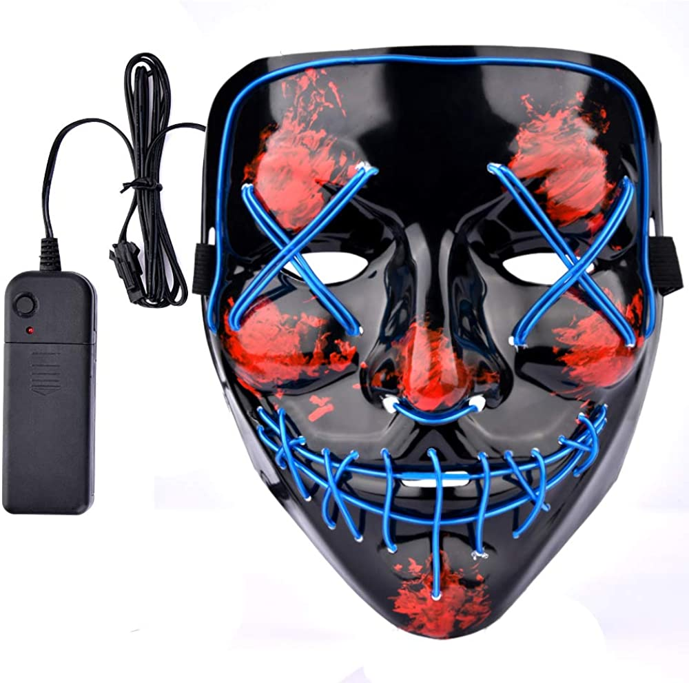 Halloween Mask LED Light up Mask Scary Mask for Costume Festival Parties