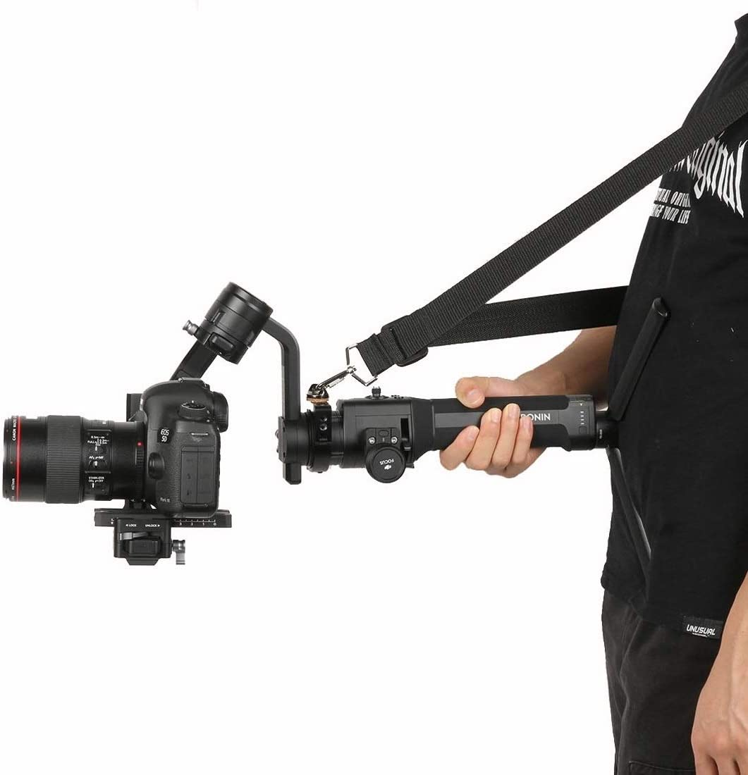 MEETBM ZIMO,Nylon Braided Lanyard Neck Strap with Aluminum Alloy Extension Ring Clamp Mount Adapter for DJI Ronin S Gimbal