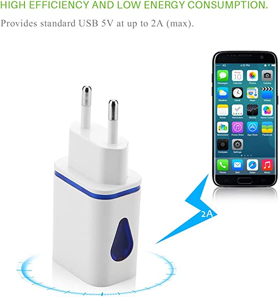 ONEVER UE LED del Cargador del Adaptador del Puerto 2 USB LED del Cargador del Adaptador USB de 2 Puertos hogar de la Pared Recorrido de la CA para S7 Enchufe de la UE