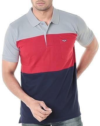 b1164db43322 WEXFORD Men's Half Sleeves Polo Round Neck Tshirt Cotton Tshirt ...