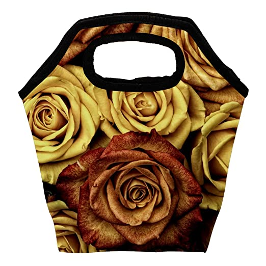 Bolsa de almuerzo con aislamiento de rosas rojas para ...