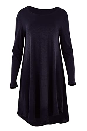 a42dadd4656 bird keepers Womens Knee Length Dresses The Long Sleeve Swing Dress Size 10  Navy