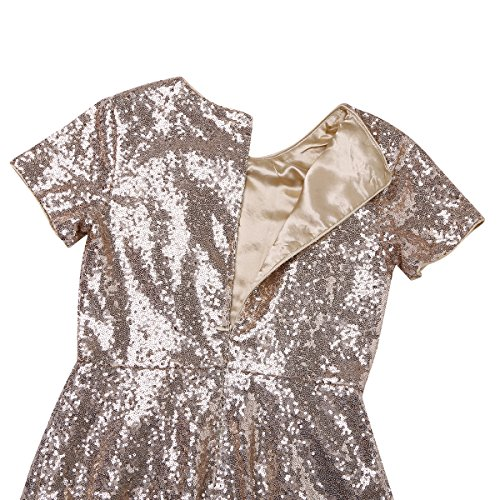 Short Sleeve Cocktail Party A CHICTRY Women's Evening Sequins Dress line Bridesmaid Gold TF5wUqE