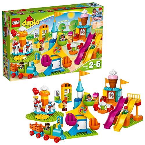 LEGO 10840 DUPLO Town Grote Kermis met Poppetjes, Speelgoed Trein en Ijsjes, Constructiespeelgoed voor Kinderen vanaf 2…