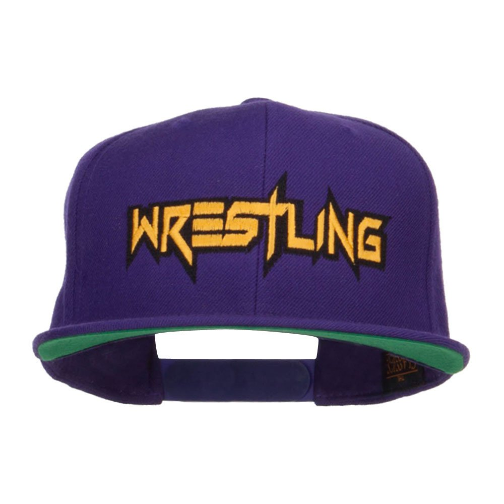 E4hats Wrestling Embroidered Snapback Cap - Purple OSFM