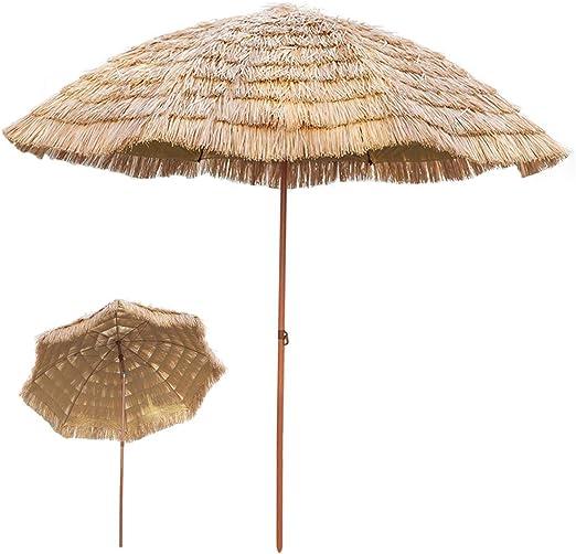 Parasol ZMLQ Sombrilla con Flecos De Rafia para Jardín Al Aire Libre Patio Playa Sombrilla De Paja De Hula Hawaiana De 2,1 M De Diámetro, Inclinable/Redondo/Color Natural: Amazon.es: Hogar