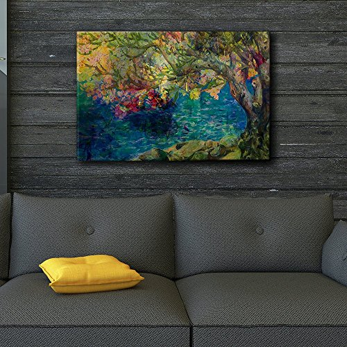 Colorful Painting of a Tree by a Lake
