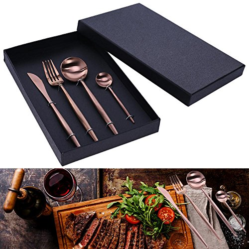 Stainless Flatware Knife Fork Spoon Cutlery Tableware, 4 Pcs Portugal Style from ttnight