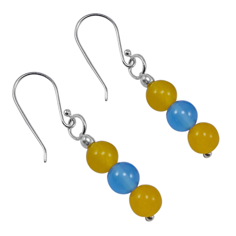 Silvestoo Jaipur Yellow /& Blue Quartz 925 Silver Plated Earring PG-128399