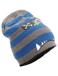 Childrens Boys Knitted 4-In-1 Reversible Monster Design Beanie Hat