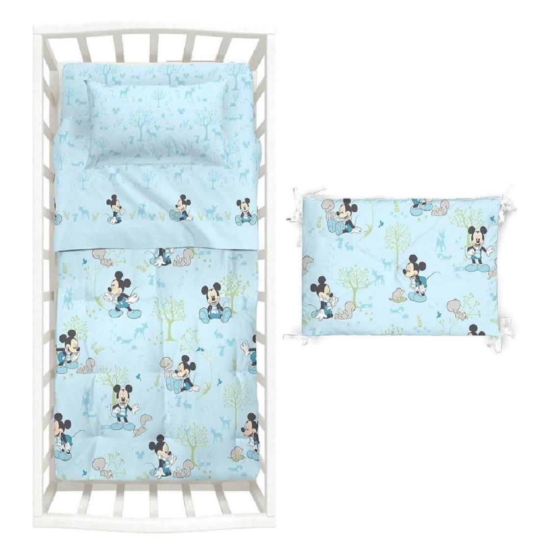 Couvre-lit avec tour de lit Disney Baby–Mickey Boschetto–100% coton, garnissage en fibre de polyester hypoallergénique Caleffi