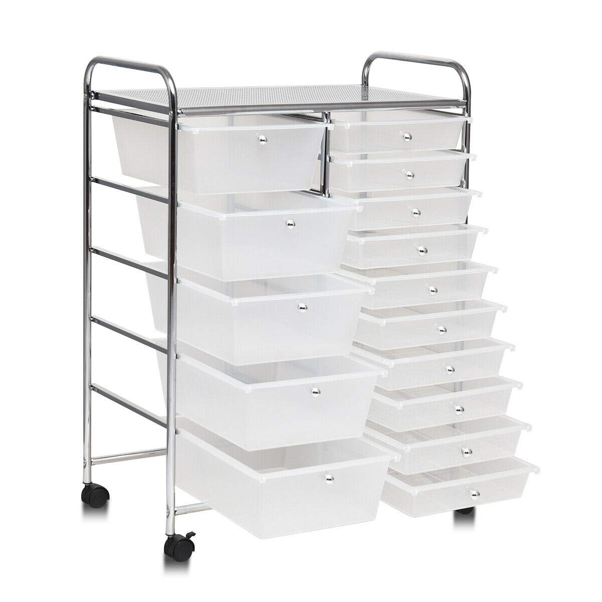 Portable 24.5''L Rolling Drawer Cart Storage Utility Shelve Organizer w/ 15Drawers with Ebook by AyaMastro (Image #4)