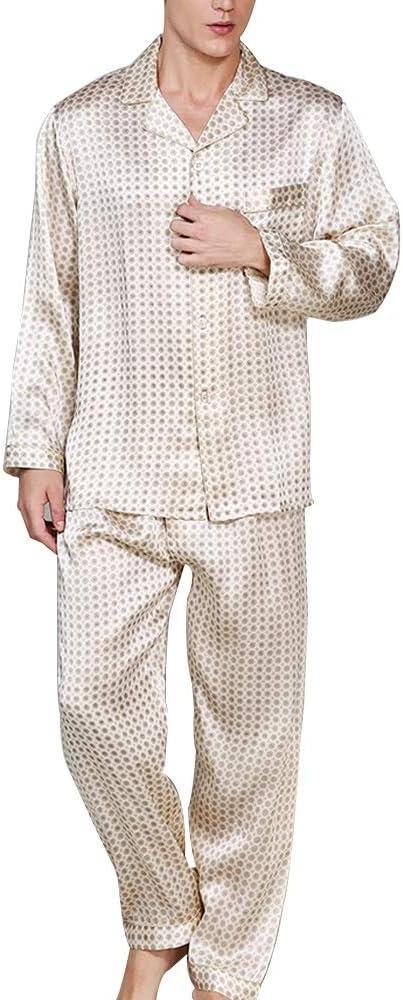 YONGYONG Conjunto De Pijamas para Hombres 100% Camisa De Tela De Seda De Morera Pantalones De Manga Larga 2 Juegos De Ropa Informal para El Hogar Clothing/Sleepwear: Amazon.es: Ropa y accesorios
