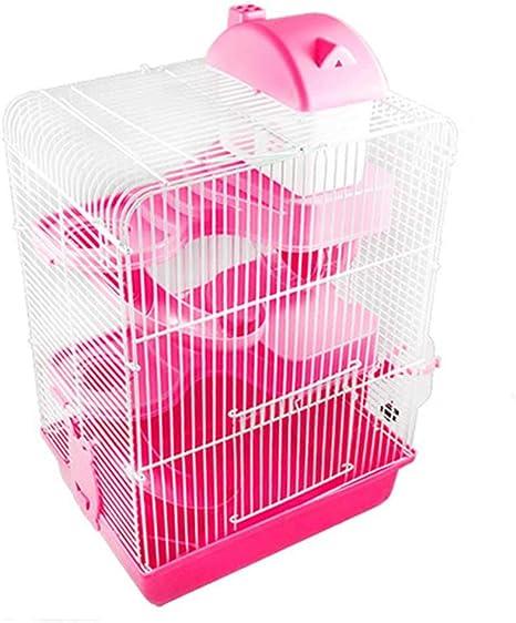 Youyababay 3-Nivel De Metal Hamster Jaula De Pequeños Animales Roedores Rata Hutch Pet Ferret Plataforma Chinchilla Alimentación Escalera Hábitat Base,Rosado: Amazon.es: Deportes y aire libre