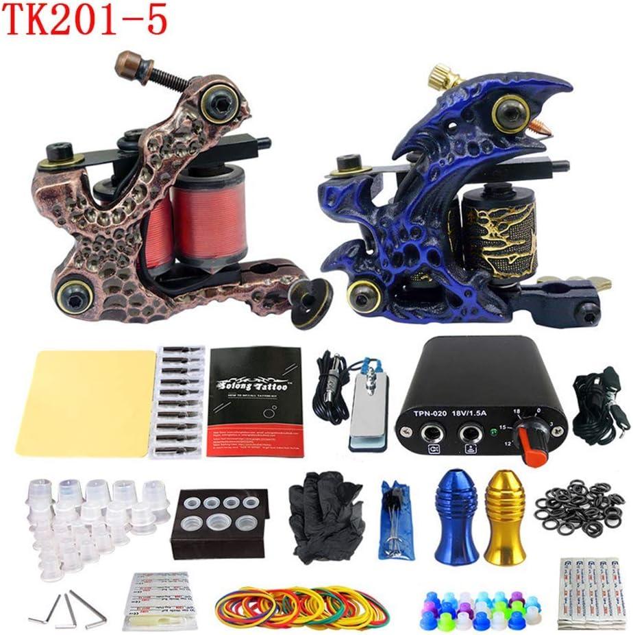 SS&LL Kit de máquina de Tatuaje de 2 carretesEjercicio Profesional Que Entrega pies Pedal y Gancho de línea de línea \\ u0026 Shader para Tatuador TK201-5