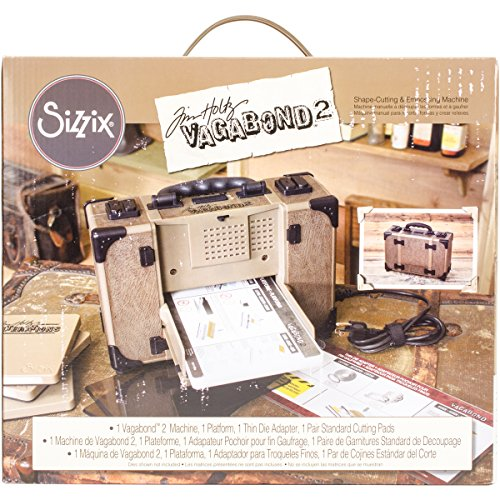 Sizzix Tim Holtz Vagabond 2 Electric Embossing Extended Platform and Java Standard Pads Die Cutting Machine, 6 In (15.24 Cm) Opening,