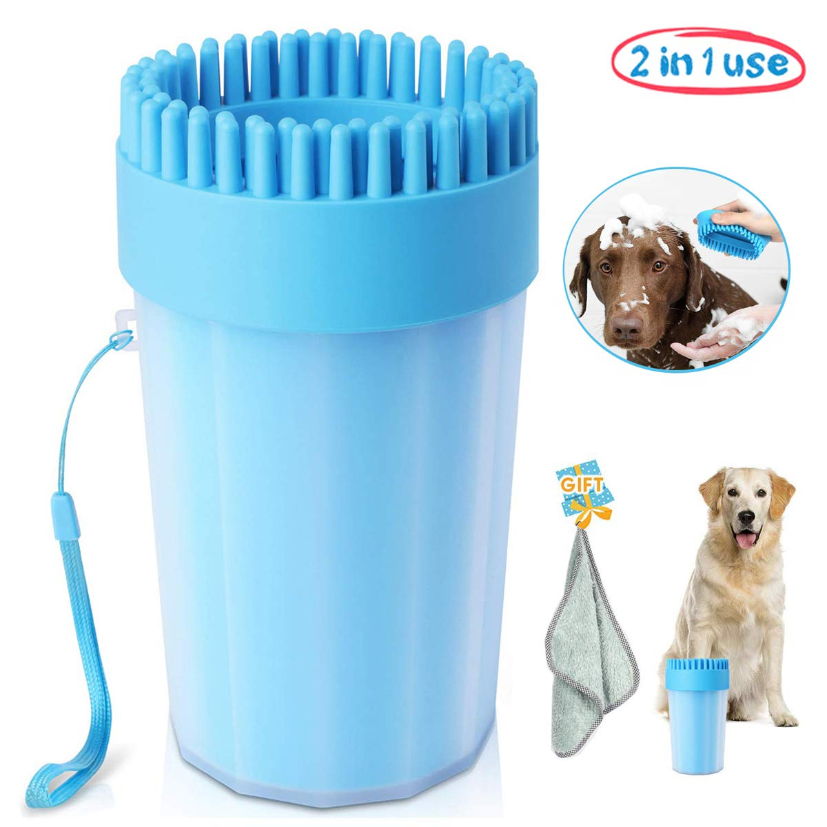 Portable Dog Paw Cleaner Upgrade Dog Cleaner with Towel Dog Cleaning Brush Paw Cleaner for Dogs and Cats by Chooseen