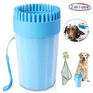 Portable Dog Paw Cleaner Upgrade Dog Cleaner with Towel Dog Cleaning Brush Paw Cleaner for Dogs and Cats