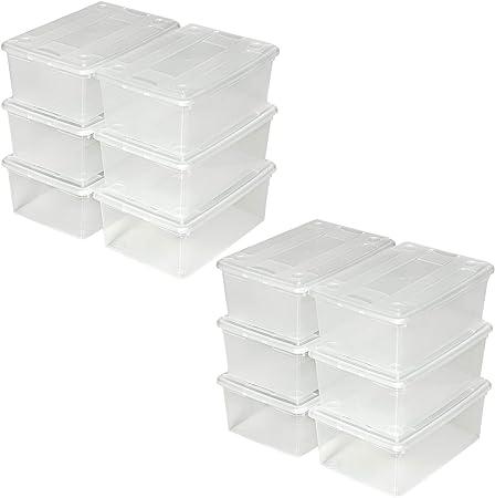 1x 6er Set   Nr. 401685 33x23x12cm   Diverse Mengen - TecTake Schuhbox mit Deckel stapelbar transparent Aufbewahrungsbox