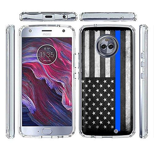 [PlusBrite] Motorola Google Moto X4 Case Slim Fit Gummy Gel Skin Phone Case [Police Blue Line Flag ()