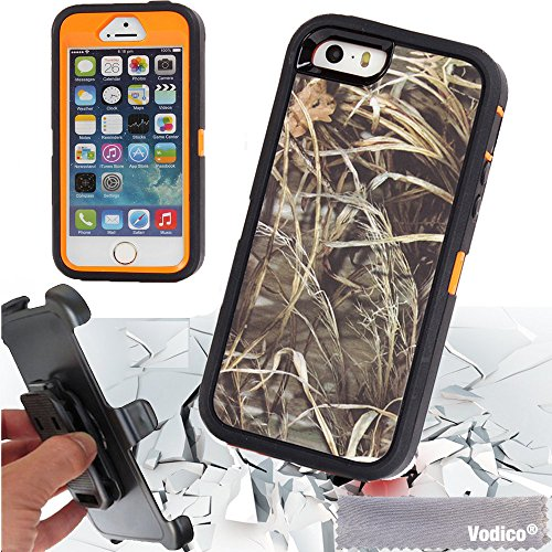iPhone 5 5s / 5se Vodico Hunting Wild Camo Heavy Duty Shockproof Dustproof Drop Scratch Resistant Hybrid Bumper Body Protective Case with Belt Clip Holster Built-in Screen Protective -Grass Orange