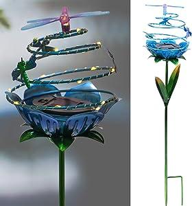 Solar Garden Stake Hummingbird Dragonfly Waterproof 20 LED Spiral Metal Decorative Outdoor Garden Lights for Courtyard Patio Walkway Decor