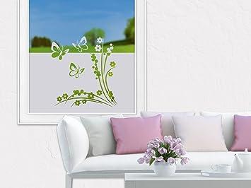 Graz Design 980147_100x57 Sichtschutzfolie Fenstertattoo Fensteraufkleber  Kinderzimmer Schmetterlinge Blumen (Größeu003d100x57cm)