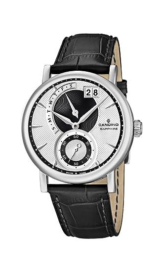 Candino C4485/2 - Reloj analógico para Caballero de Cuero Resistente al Agua Plata: Amazon.es: Relojes