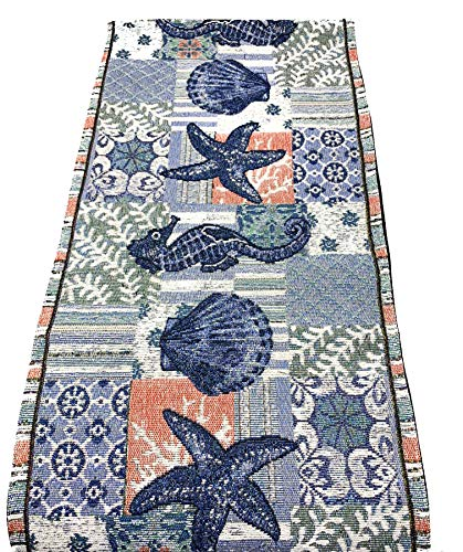 Windham Home Coastal Nautical Seascapes Tapestry Table Runner, 72-Inch x 13-Inch (Blue Starfish Seahorse Seashells)